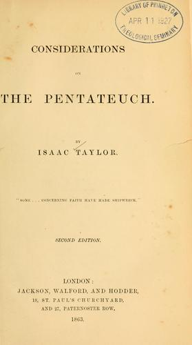 Considerations on the Pentateuch.