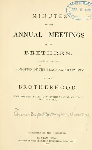 Download Minutes of the annual meetings of the Brethren …