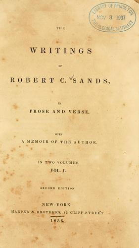 Download The writings of Robert C. Sands, in prose and verse