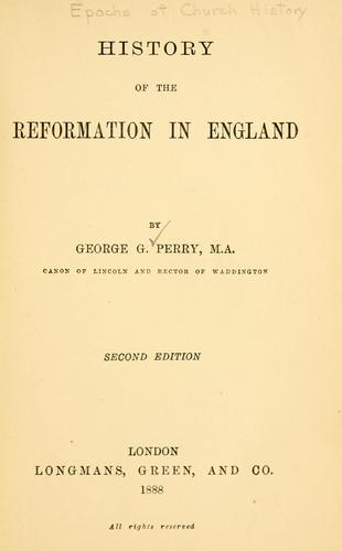 Download History of the reformation in England