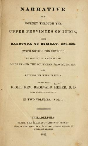 Download Narrative of a journey through the upper provinces of India, from Calcutta to Bombay, 1824-1825.
