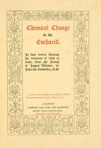 Download Chemical change in the eucharist.