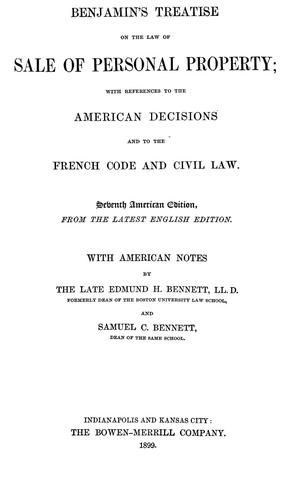 Download Benjamin's Treatise on the law of sale of personal property