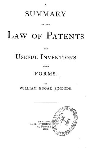 Download A summary of the law of patents for useful inventions
