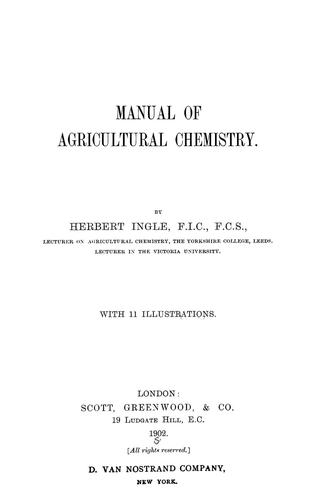 Download Manual of agricultural chemistry.