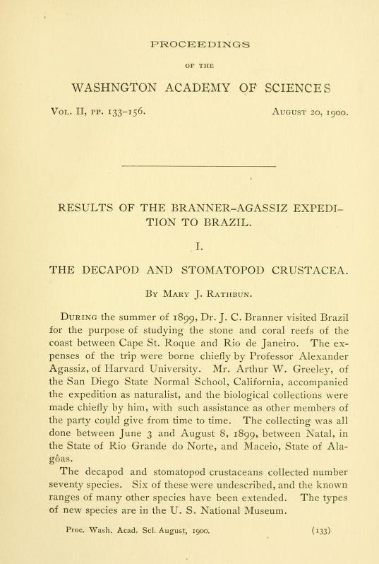 Results of the Branner-Agassiz Expedition to Brazil - I. The Decapod and Stomatopod Crustacea