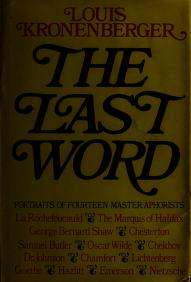 Cover of: The last word | Louis Kronenberger