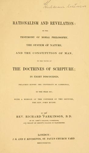 Rationalism and revelation by Parkinson, Richard