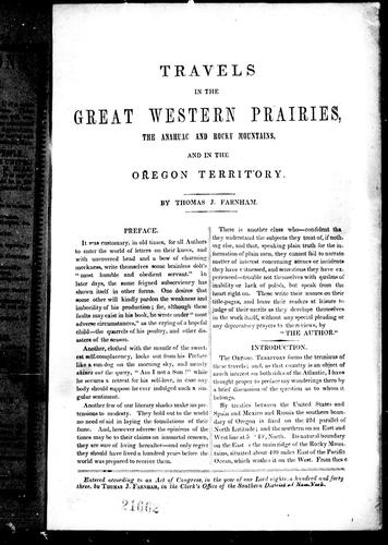 Travels in the great western prairies by Thomas J. Farnham