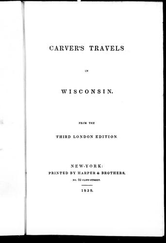 Carver's travels in Wisconsin by